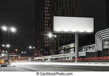 notte, city., illuminato, vuoto, interpretazione, tempo, tabellone, 3d