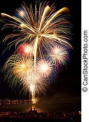 notte, colorito, cielo, fireworks, brillantemente