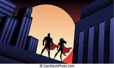 notte, coppia, città, superhero