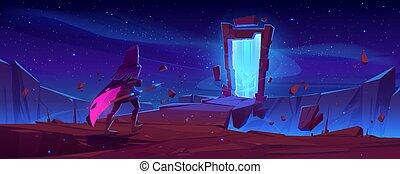 notte, cornice, magia, cavaliere, portale, pietra