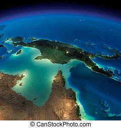 notte, earth., australia, e, papua nuova guinea