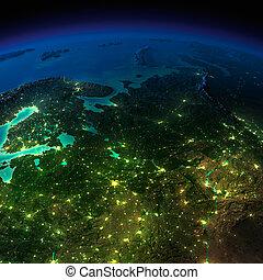 notte, earth., il, europeo, parte, russia