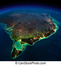 notte, earth., parte, australia., tasmania