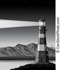 notte, faro, paesaggio, dettagliato, montagne, mare