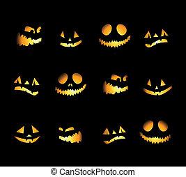 notte halloween, fondo, zucche