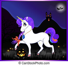 notte, halloween, unicorn.eps