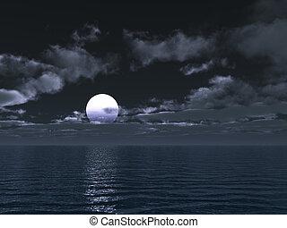 notte, illuminato dalla luna