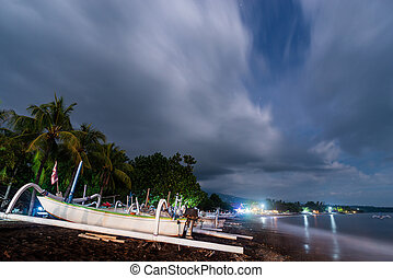 notte, indonesia, spiaggia, amed, bali