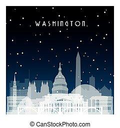 notte, inverno, washington.
