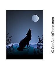 notte, luna, fondo, ululando, lupo