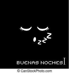 notte, messaggio, buono, spagnolo