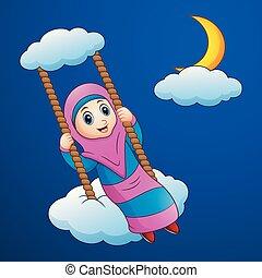 notte, musulmano, altalena, ragazza, cartone animato, nuvola