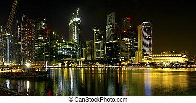 notte, orizzonte, costruzione, fiume, singapore