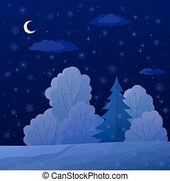 notte, paesaggio, foresta, natale