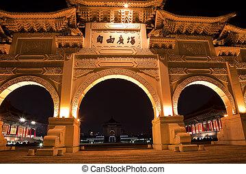 notte, quadrato, taiwan, salone, dice, libertà, segno, monumento, cancello, taipei, kai-shek, chiang, commemorativo