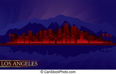 notte, sagoma los angeles, città