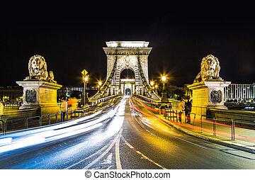 notte, scenario, szechenyi, ungheria, strada, budapest, catena, città, ponte, urbano