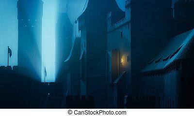 notte, scuro, castello