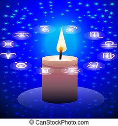 notte, segno, cielo, zodiaco, costellazione, candela, ...