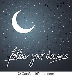notte, seguire, messaggio, tuo, fare un sogno, bello