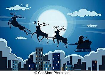 notte, sorvolare, sleigh, cielo, claus, nuovo, scheda, santa, vista, neve, orizzonte, natale, città, grattacielo, renna, cityscape, anno