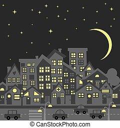 notte, tradizionale, orizzonte, città, tetti, cartone animato, silhouette
