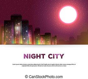 notte, urbano, fondo, città