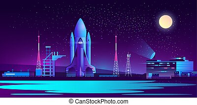 notte, vettore, base, razzo, spaceport