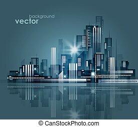 notte, vettore, illustrazione, cityscape.