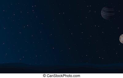 notte, vettore, paesaggio, spazio