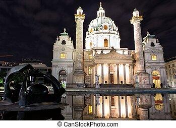 notte, vista, da, st., charles's, chiesa, in, vienna