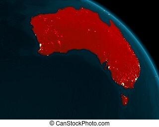 notte, vista, di, australia, su, terra