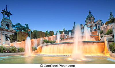 notte, vista, di, fontana magica, in, barcellona