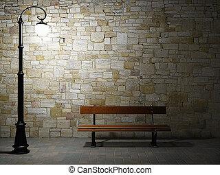 notte, vista, di, il, illuminato, muro di mattoni, con, vecchio adattato, luce stradale, e, panca
