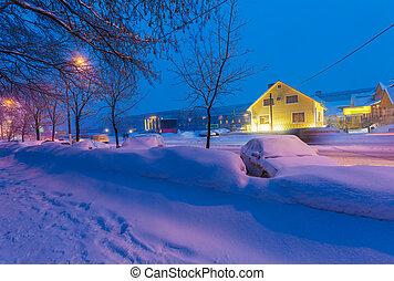 notte, vista, di, il, inverno, città