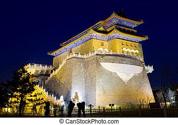notte, vista, di, il, qianmen, torre
