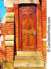 notting hill area in antique wall door