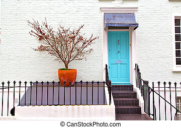 notting hill area in london and flowers