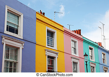 Notting Hill houses in the famous Portobello Road market,...