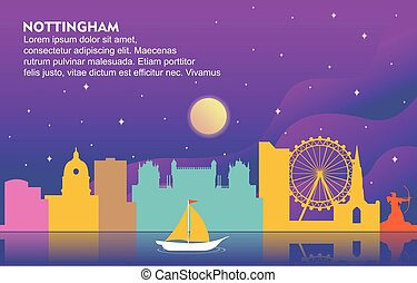 Nottingham City Building Cityscape Skyline Dynamic Background Illustration