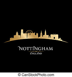 Nottingham England city skyline silhouette black background...