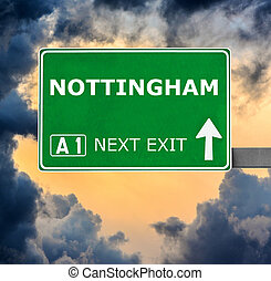 NOTTINGHAM road sign against clear blue sky