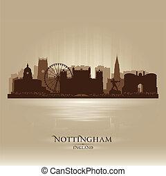 nottingham, siluetta skyline, città, inghilterra