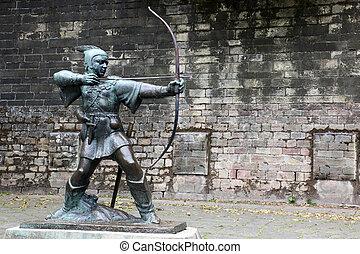 nottingham, uk, nottingham, staty, rödhakesångare huv, slott