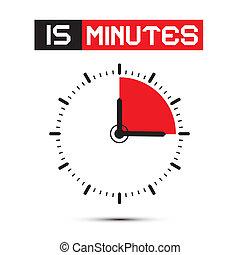 notulen, klok, -, stoppen, illustratie, horloge, vector, vijftien