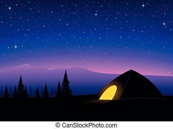 noturna, acampamento