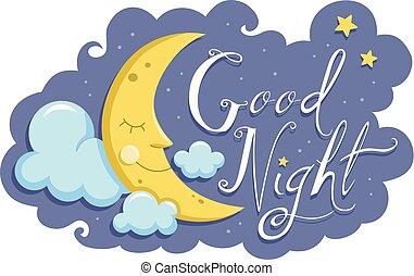noturna, bom, lua, ilustração, mascote