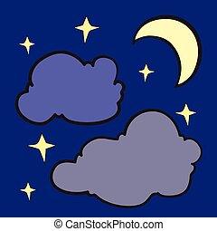 noturna, céu, estrelas, lua