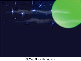 noturna, céu, lua