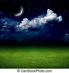 noturna, campo verde